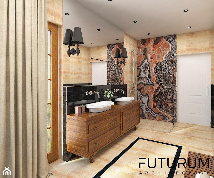 Projekt wnętrza domu pod Warszawą, styl klasyczny - Średnia łazienka w bloku w domu jednorodzinnym z oknem, styl glamour - zdjęcie od FUTURUM ARCHITECTURE