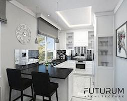 Projekt wnętrza, Warszawa - Średnia otwarta biała kuchnia w kształcie litery g, styl glamour - zdjęcie od FUTURUM ARCHITECTURE
