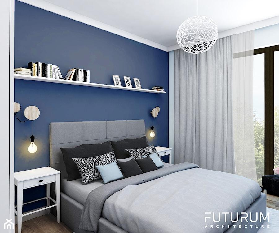 Projekt wnętrza, Bajeczna, Kraków - Średnia biała niebieska sypialnia małżeńska, styl skandynawski - zdjęcie od FUTURUM ARCHITECTURE
