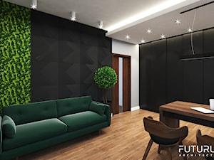 Projekt wnętrza domu jednorodzinnego, Zyrardów - Średnie czarne szare biuro domowe w pokoju, styl nowoczesny - zdjęcie od FUTURUM ARCHITECTURE