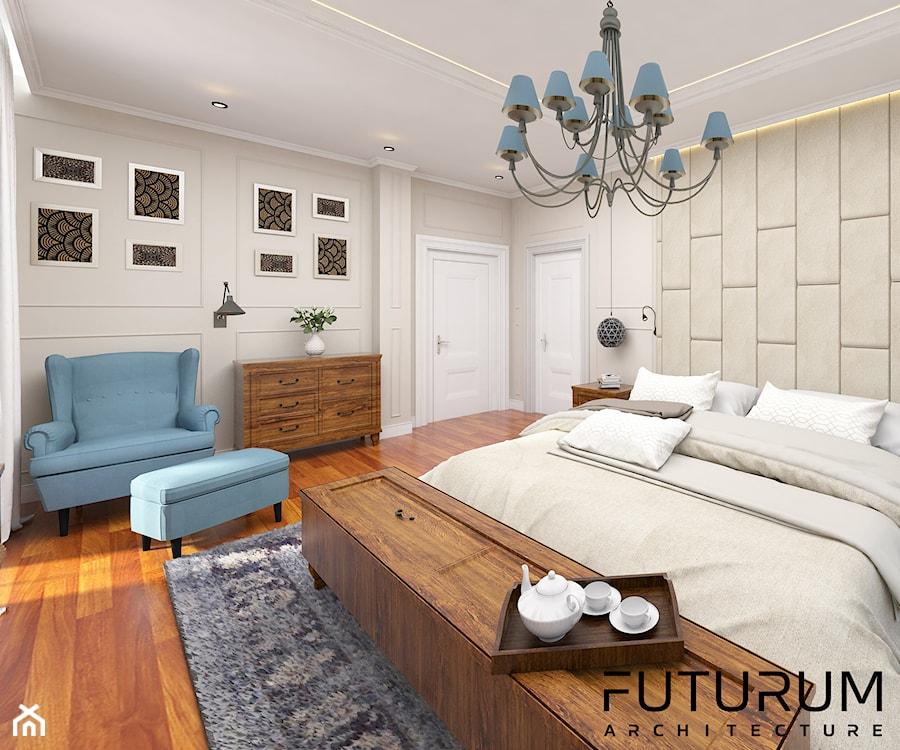 Projekt wnętrza domu pod Warszawą, styl klasyczny - Duża beżowa sypialnia małżeńska z balkonem / tarasem, styl rustykalny - zdjęcie od FUTURUM ARCHITECTURE
