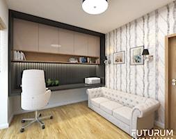 Projekt wnętrza domu w Krakowie - Średnie czarne biuro domowe kącik do pracy w pokoju, styl nowoczesny - zdjęcie od FUTURUM ARCHITECTURE