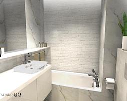 Mieszkanie 60m - Kraków/Osiedle Riverside - Mała biała beżowa łazienka w bloku bez okna, styl klasyczny - zdjęcie od Studio QQ Natalia Lenarczyk - Architekci & Projektanci wnętrz