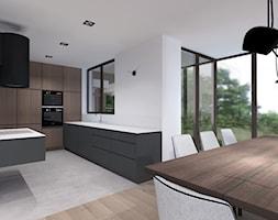 Średnia otwarta biała kuchnia w kształcie litery u, styl minimalistyczny - zdjęcie od KODA DESIGN studio projektowe Dawid Kotuła