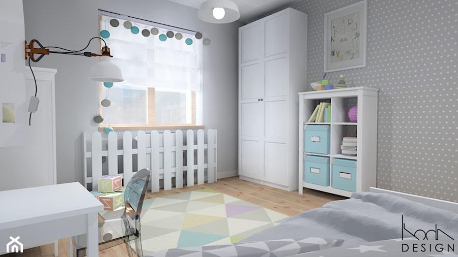 Projekt aranżacji mieszkania 3-pokojowego w Szczecinie - Średni szary pokój dziecka dla chłopca dla dziewczynki dla ucznia, styl skandynawski - zdjęcie od KODA DESIGN studio projektowe Dawid Kotuła