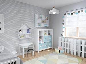 Projekt aranżacji mieszkania 3-pokojowego w Szczecinie - Średni szary pokój dziecka dla chłopca dla dziewczynki dla ucznia dla malucha, styl skandynawski - zdjęcie od KODA DESIGN studio projektowe Dawid Kotuła
