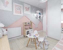 Mieszkanie 54 m przy ulicy Jasielskiej - Średni biały szary różowy pokój dziecka dla dziewczynki dla malucha, styl nowoczesny - zdjęcie od Architektownia
