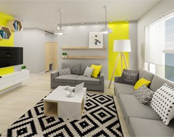 Mieszkanie 79 m przy ulicy Rolnej - Mały szary żółty salon, styl nowoczesny - zdjęcie od Architektownia