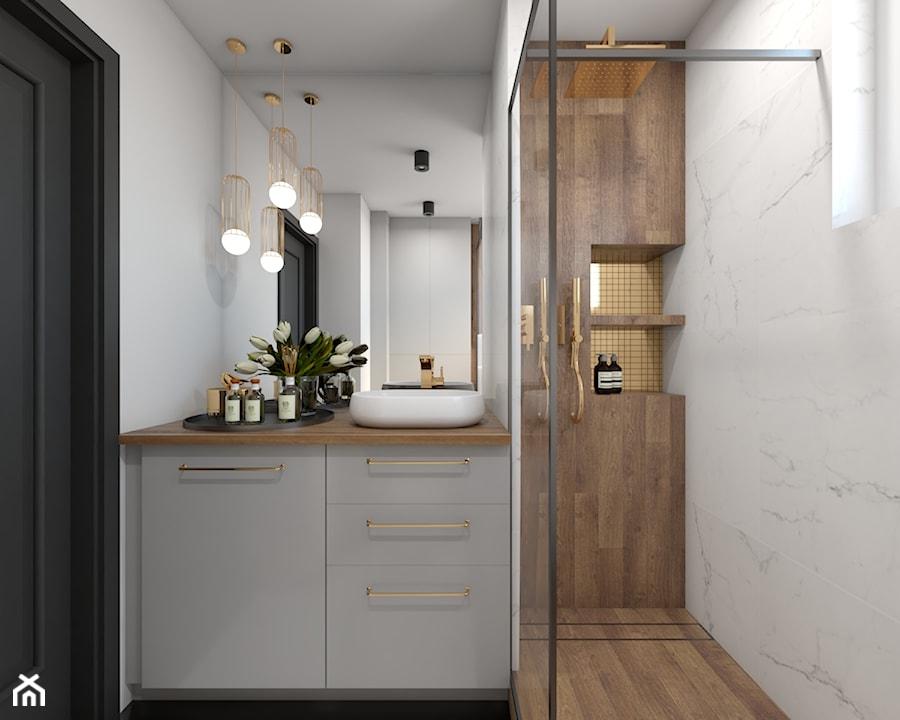 Metamorfoza mieszkania 44 m2 w bloku z wielkiej płyty - Łazienka, styl nowoczesny - zdjęcie od Architektownia