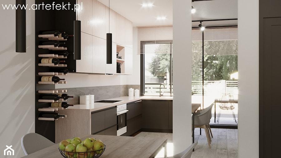 Mieszkanie - Średnia otwarta biała szara kuchnia w kształcie litery u z oknem, styl industrialny - zdjęcie od ArtEfekt