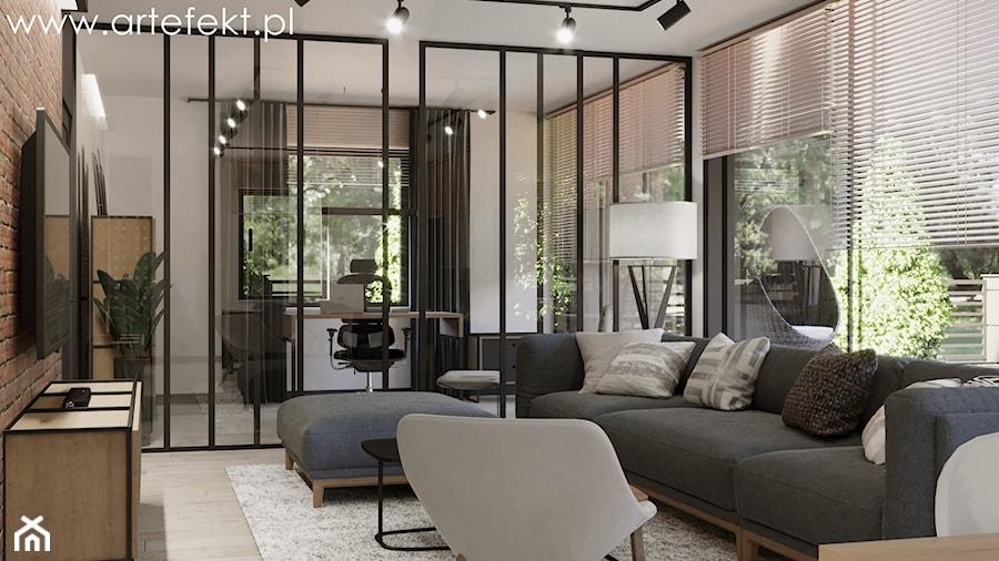 Mieszkanie - Średni biały salon z jadalnią, styl industrialny - zdjęcie od ArtEfekt