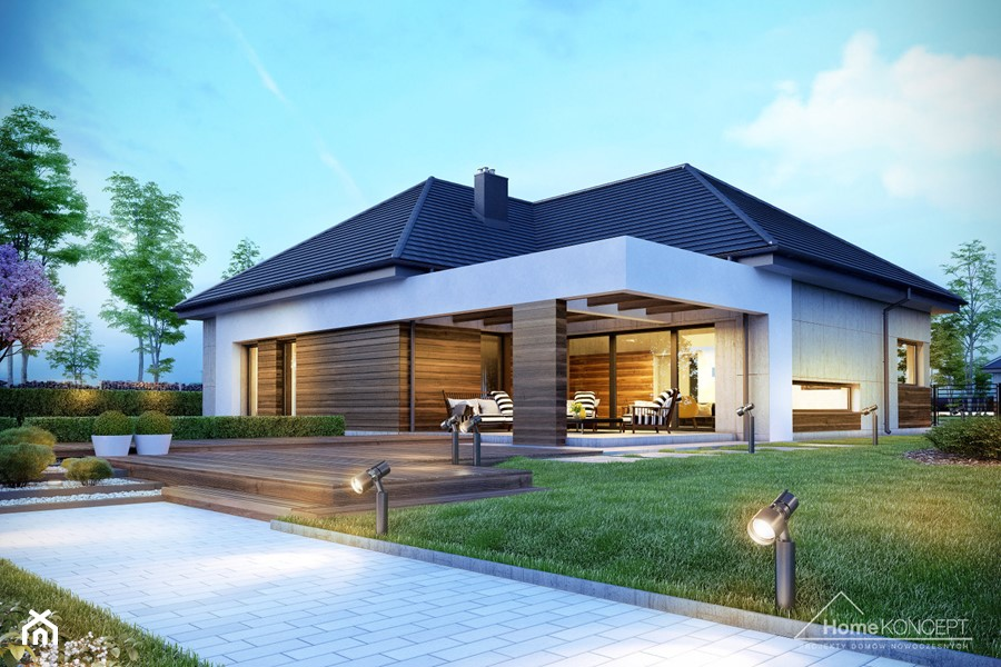 projekt domu parterowego homekoncept 31 zdj cie od. Black Bedroom Furniture Sets. Home Design Ideas