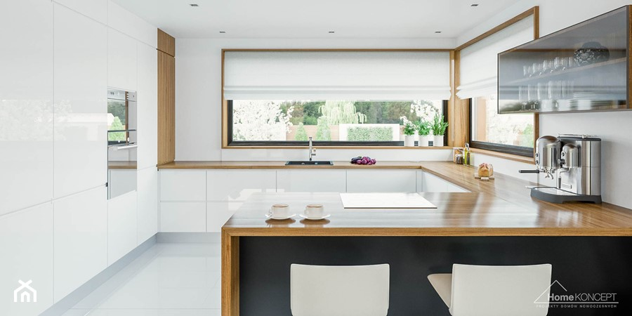 Projekt domu HomeKoncept 33  Duża otwarta kuchnia w   -> Projekt Kuchni Z Niskim Oknem