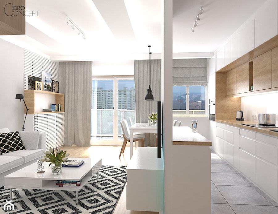 Pokój dzienny z aneksem kuchennym  zdjęcie od OroConcept   -> Kuchnia Z Aneksem Inspiracje