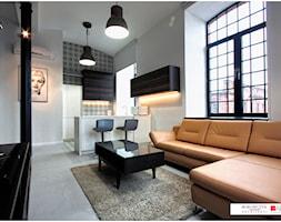 LOFT z widokiem - Mały szary salon z kuchnią z jadalnią, styl nowoczesny - zdjęcie od Borowczyk Architekci