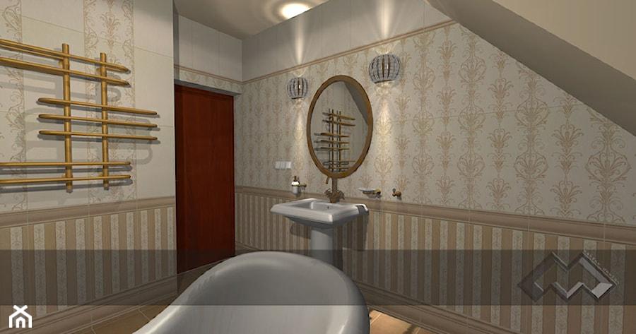 łazienki dla klientów salonu w Krakowie - Średnia łazienka na poddaszu w domu jednorodzinnym bez okna, styl klasyczny - zdjęcie od studio aranżacji wnętrz matlok design