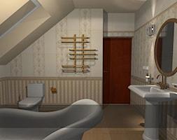 łazienki dla klientów salonu w Krakowie - Średnia beżowa łazienka na poddaszu w domu jednorodzinnym z oknem, styl klasyczny - zdjęcie od studio aranżacji wnętrz matlok design