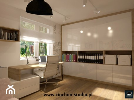 Aranżacje wnętrz - Biuro: Dom w Modlniczce - Ciochoń-Studio. Przeglądaj, dodawaj i zapisuj najlepsze zdjęcia, pomysły i inspiracje designerskie. W bazie mamy już prawie milion fotografii!
