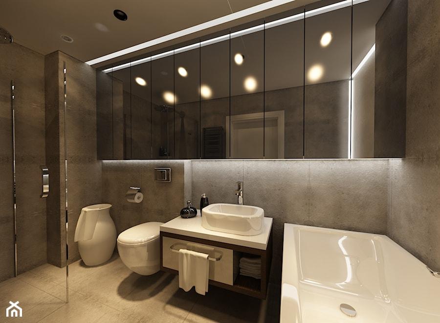 Mieszkanie Kraków - Średnia szara łazienka bez okna, styl nowoczesny - zdjęcie od Ciochoń-Studio