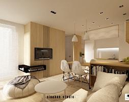 Mieszkanie pod wynajem w Krakowie - Zabłocie Concept House - Średni szary salon z kuchnią z jadalnią ... - zdjęcie od Ciochoń-Studio - Homebook