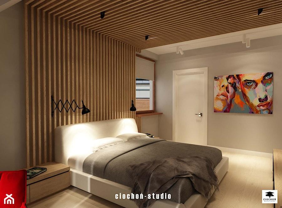 Aranżacje wnętrz - Sypialnia: Sypialnia z łazienką - Ciochoń-Studio. Przeglądaj, dodawaj i zapisuj najlepsze zdjęcia, pomysły i inspiracje designerskie. W bazie mamy już prawie milion fotografii!