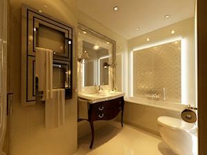 Apartament Kraków II - Średnia beżowa łazienka w bloku bez okna, styl glamour - zdjęcie od Ciochoń-Studio