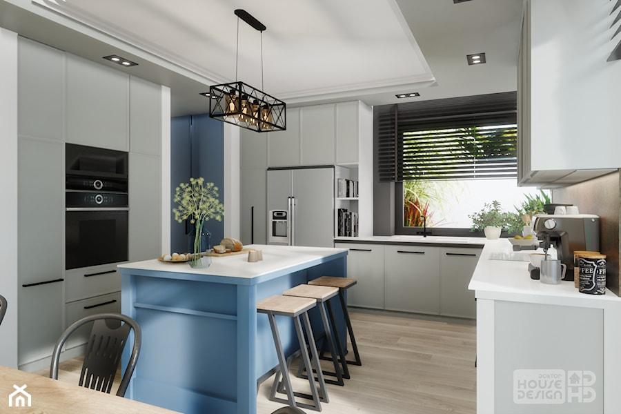 kuchnia z niebieską wyspą - zdjęcie od DOKTOR HOUSE DESIGN