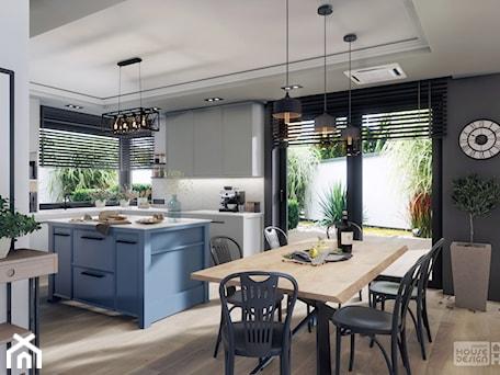 Aranżacje wnętrz - Jadalnia: kuchnia z niebieską wyspą - DOKTOR HOUSE DESIGN. Przeglądaj, dodawaj i zapisuj najlepsze zdjęcia, pomysły i inspiracje designerskie. W bazie mamy już prawie milion fotografii!