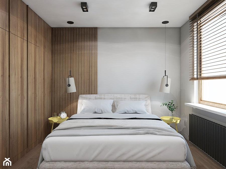 TROCHĘ SŁOŃCA - Średnia biała sypialnia dla gości małżeńska, styl nowoczesny - zdjęcie od UTOO- pracownia architektury wnętrz i krajobrazu
