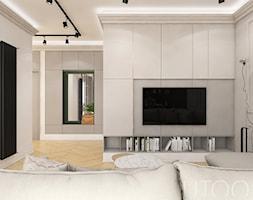 KLASYCZNA INSPIRACJA - Średni szary salon z bibiloteczką, styl nowoczesny - zdjęcie od UTOO- pracownia architektury wnętrz i krajobrazu