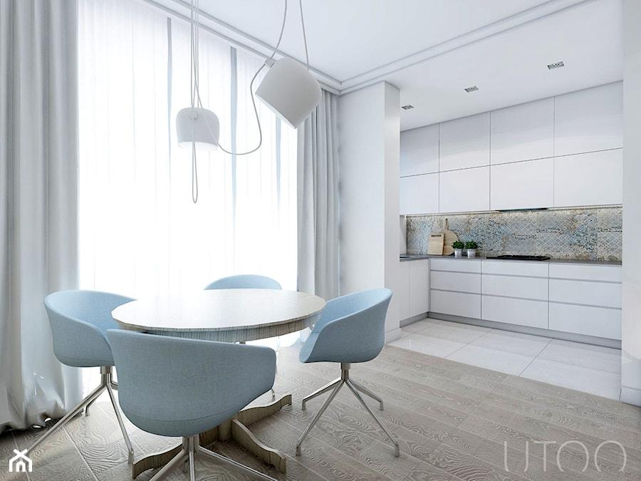 CAPPUCCINO Z NUTĄ LOFTU - Średnia otwarta jadalnia w salonie, styl nowoczesny - zdjęcie od UTOO- pracownia architektury wnętrz i krajobrazu