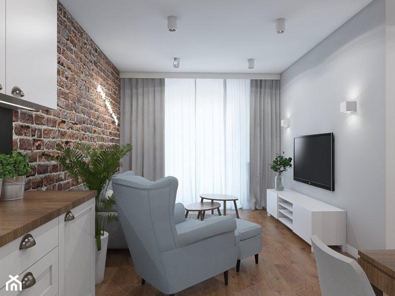 GOOD VIBES ONLY - Mały szary salon z jadalnią, styl skandynawski - zdjęcie od UTOO- pracownia architektury wnętrz i krajobrazu