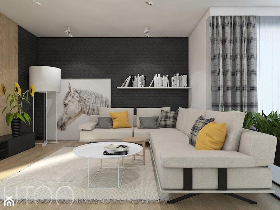 PODMIEJSKI LUZ - Duży biały salon z bibiloteczką, styl nowoczesny - zdjęcie od UTOO- pracownia architektury wnętrz i krajobrazu