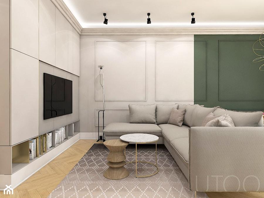 KLASYCZNA INSPIRACJA - Duży beżowy zielony salon, styl nowoczesny - zdjęcie od UTOO- pracownia architektury wnętrz i krajobrazu