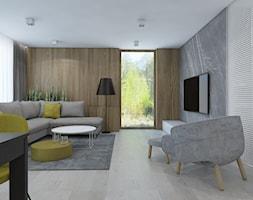 SIŁA SPOKOJU - Mały szary salon z jadalnią, styl nowoczesny - zdjęcie od UTOO- pracownia architektury wnętrz i krajobrazu