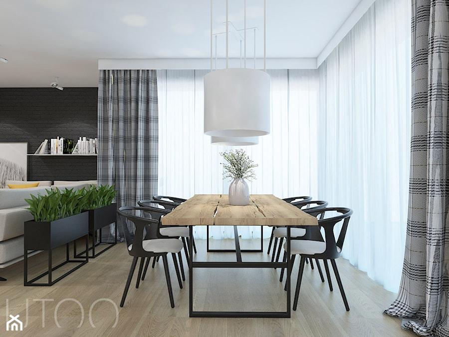 PODMIEJSKI LUZ - Duża czarna jadalnia w salonie, styl nowoczesny - zdjęcie od UTOO- pracownia architektury wnętrz i krajobrazu