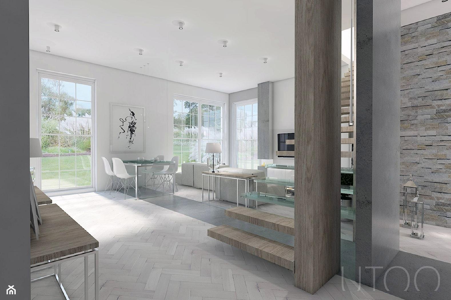 JASNA NOWOCZESNOŚĆ - Średni biały salon z jadalnią, styl nowoczesny - zdjęcie od UTOO- pracownia architektury wnętrz i krajobrazu - Homebook