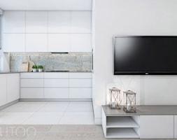CAPPUCCINO Z NUTĄ LOFTU - Średnia otwarta biała beżowa szara kuchnia w kształcie litery l w aneksie ... - zdjęcie od UTOO- pracownia architektury wnętrz i krajobrazu - Homebook