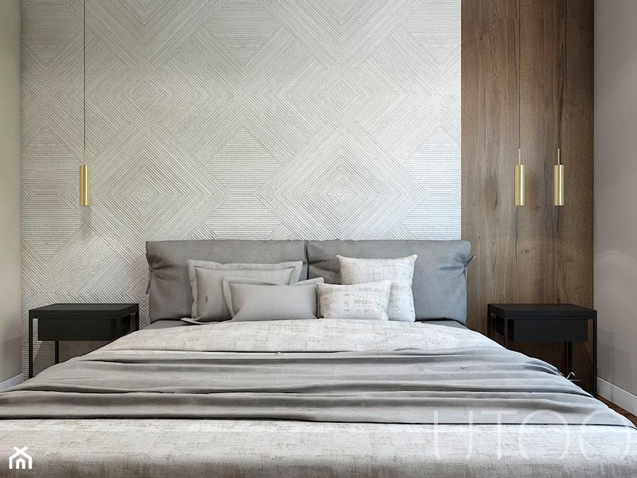 NATURALNA NOWOCZESNOŚĆ - Mała szara sypialnia małżeńska, styl nowoczesny - zdjęcie od UTOO- pracownia architektury wnętrz i krajobrazu