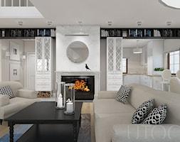 STYLOWY MIX - Średni szary biały salon z kuchnią z jadalnią, styl eklektyczny - zdjęcie od UTOO- pracownia architektury wnętrz i krajobrazu