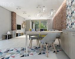 NOWOCZESNY VINTAGE - Średnia otwarta brązowa szara kolorowa jadalnia w salonie, styl vintage - zdjęcie od UTOO- pracownia architektury wnętrz i krajobrazu