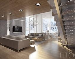MIESZKANIE DWUPOZIOMOWE - Duży szary salon z jadalnią, styl nowoczesny - zdjęcie od UTOO- pracownia architektury wnętrz i krajobrazu