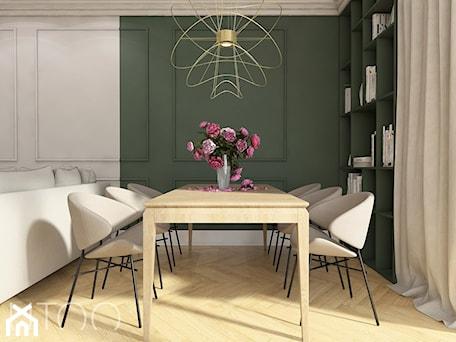 KLASYCZNA INSPIRACJA - Duża otwarta biała zielona jadalnia w salonie, styl nowoczesny - zdjęcie od UTOO- pracownia architektury wnętrz i krajobrazu
