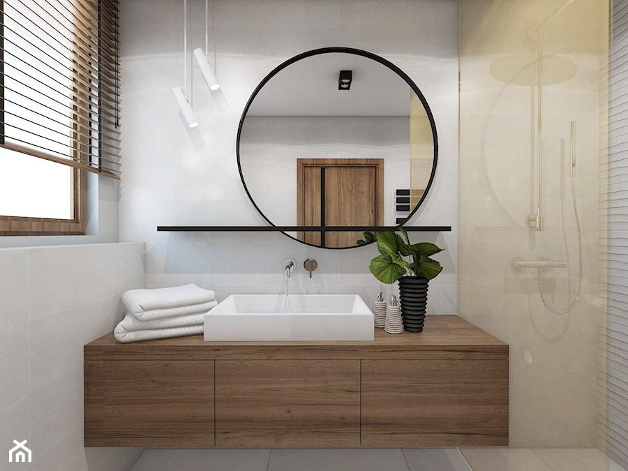 TROCHĘ SŁOŃCA - Mała szara łazienka w bloku w domu jednorodzinnym z oknem, styl nowoczesny - zdjęcie od UTOO- pracownia architektury wnętrz i krajobrazu