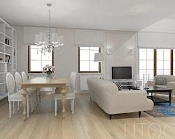 STYLOWY MIX - Średni biały salon z jadalnią, styl eklektyczny - zdjęcie od UTOO- pracownia architektury wnętrz i krajobrazu