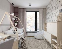 DZIEWCZĘCA SKANDYNAWIA - Średni szary pokój dziecka dla chłopca dla dziewczynki dla ucznia dla malucha dla nastolatka, styl skandynawski - zdjęcie od UTOO- pracownia architektury wnętrz i krajobrazu