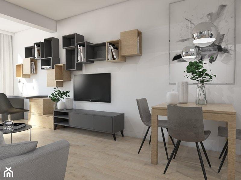 SYPIALNIA W SALONIE - Średni biały salon z bibiloteczką z jadalnią, styl nowoczesny - zdjęcie od UTOO- pracownia architektury wnętrz i krajobrazu