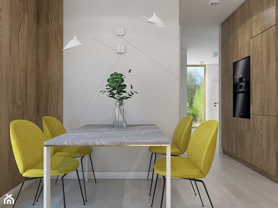 SIŁA SPOKOJU - Mała otwarta biała jadalnia w kuchni, styl nowoczesny - zdjęcie od UTOO- pracownia architektury wnętrz i krajobrazu