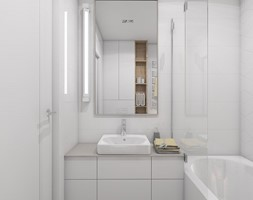 WSZĘDZIE BLISKO - Mała szara łazienka w bloku w domu jednorodzinnym bez okna, styl nowoczesny - zdjęcie od UTOO- pracownia architektury wnętrz i krajobrazu