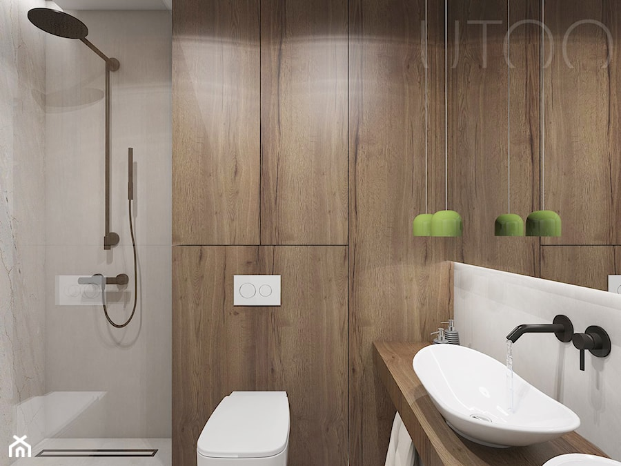 NATURALNA NOWOCZESNOŚĆ - Mała szara łazienka w bloku w domu jednorodzinnym bez okna, styl nowoczesny - zdjęcie od UTOO- pracownia architektury wnętrz i krajobrazu